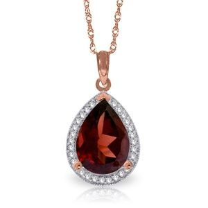 GOLD NECKLACE WITH NATURAL DIAMONDS & GARNET